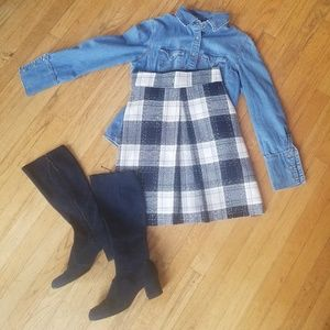 H&M Plaid Wool Blend Pleated Skirt
